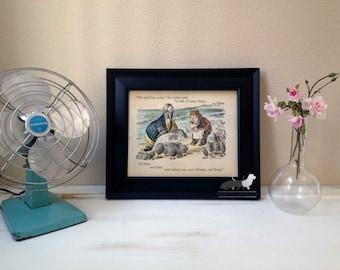 Alice in Wonderland - Walrus and Carpenter - Vintage Illustration - Custom Art Print - Frame not included