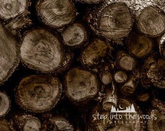 Stacked Wood, Color; Sepia, Nature Photography, Firewood, Rustic Home Decor, Nature Art, Wood Art, Wood Wall Art, Log Cabin Decor