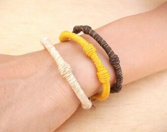Women's rigid hemp bracelet with steel core, handmade, 12 colours. Canapart