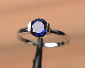 blue sapphire ring engagement ring September birthstone blue gemstone sterling silver ring solitaire ring