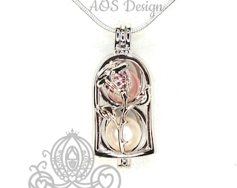 Enchanted Rose Pearl Cage Silver Plated Locket Crystal Accents Beauty Beast Rose in Bell Jar Charm