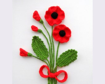 Crochet Applique Poppy Flowers and Leaves Set - Any Colour - Made to Order
