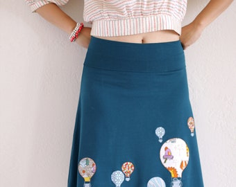 Womens Winter Fashion - Plus size Heavy Weigth Cotton Teal Blue Applique A-line Knee Length Skirt - Hot aire balloon ride- Size Extra Large