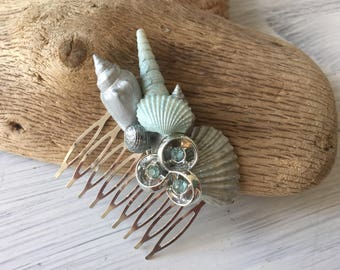 Beach Wedding No 21 - hand painted aqua seashell and vintage jewel assemblage, beach wedding headpiece