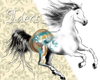 Wild Horse Digital Stamp, Galloping Arabian Horse  Line Art Digi Stamp, Digital Download Clip Art, Cowboy Clipart (01710b3v)