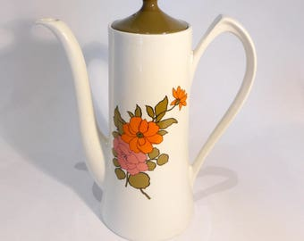 Burleigh Ironstone Coffee Pot with orange/pink floral pattern – original from the 1970s