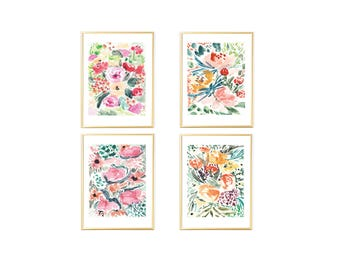 Floral Wall Art Set,Floral Watercolor,Set of 4 prints,Wall Art set of 4, Modern Wall Prints, Digital Flowers Watercolor, Floral Art Prints