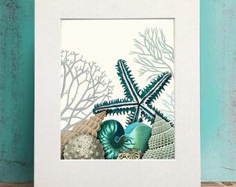 Nautical print - Starfish Under Sea - Starfish decor starfish art print starfish print Living room art Bedroom wall art Bathroom wall art