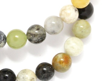 "Flower ""Jade"" Serpentine Beads - 8mm Round - Limited Quantity"