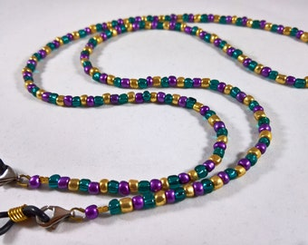 Mardi Gras Colors Purple Green Gold Eyeglass Chain/Necklace