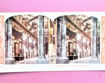 Rome Italy Antique Stereograph Card Colona Palace Stereo View Card Color World Series #140 Kawin Vintage Stereoview Card Grand Gallery 1905