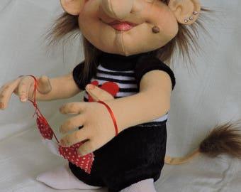 "Cloth Art Doll, OOAK, ""Heart"" Troll"