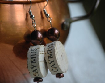 Wine Cork Earrings- CAYMUS- Gift- Upcycled