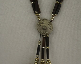 Long tribal necklace - brass and wood with bells FREE SHIPPING SALE