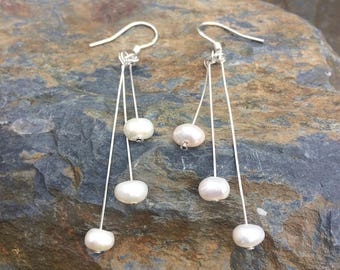 Sterling Silver and Freshwater White Cultured Pearl Earrings