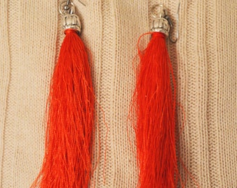 Handmade orange modern stylish knitters earrings