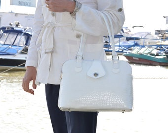 WHITE LEATHER Tote Bag, White Leather Handbag, White Leather Purse, White Leather Bag, Leather Tote, Women Leather Tote, Woman Leather Bag