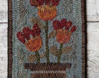 Folk Art Primitive Hand Hooked Rug-Potted Flowers