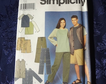 UNCUT #9298 Simplicity Misses', Men's and Teen's Jacket or Vest, Pants and Shorts and Knit Top Pattern Size AA (XS,S,M) 2000