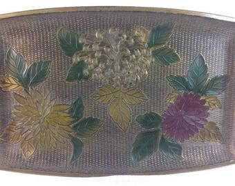 Vintage Floral Tray Decorative Tray Metallic Colors Tray Ornate Tray