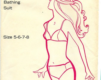 Vintage 60s Kandel Knits Women's Bikini Swimsuit UNCUT Sewing Pattern 73 Sizes 5-6-7-8