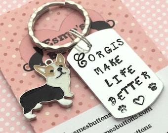 Corgi keyring, Corgi gift, Corgi lover gift, hand Stamped Key Ring, Corgis make life better, Corgi, gift for him, gift for her,