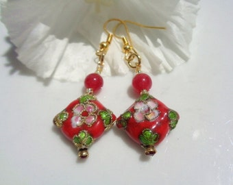 Earrings Cloisonne Red Floral Chinese Red Gemstones