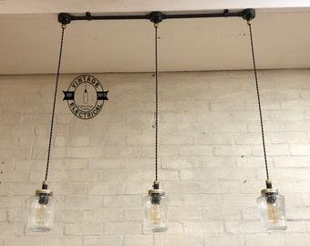 3 x Vintage Kilner suspendus pot mason lumières plafond salle à manger cuisine tableau edison à incandescence lampes pendentif noir édition