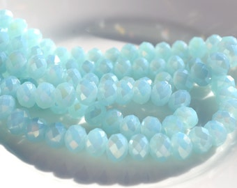 Palest Blue 8x6mm Faceted FIre Polish Rondelle Beads   20