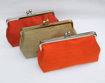 Clutch Purse, Autumn Clutch Purses , Set of Bridesmaid Clutch Purses, Bridesmaid Gifts, Silk Clutch Purse, Wedding Clutch