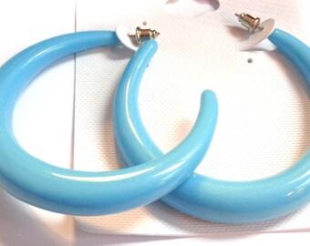 VINTAGE Earrings Powder Blue Earrings 2.5 inch Hoop Round Tube Hoop Earrings