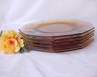 """Décagone Cambridge Vintage 8 1/2"""" ambre assiettes (6), élégante verrerie de dépression, des années 1930 la vaisselle en verre ambre"""