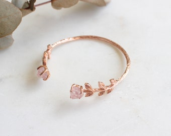 Natural Gemstone Rose Quartz Leaves Bangle in Rose Gold. Handcrafted Dainty Luxury Gift Perfect for All Occasions.