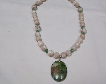 Hand made one of a kind Necklace w/ Green Agate
