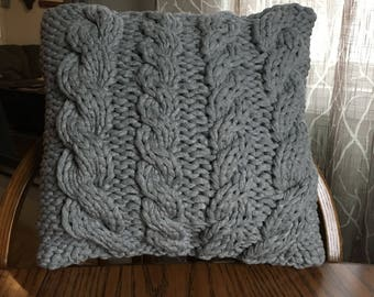 Handmade Cable Knit Decorative Pillow