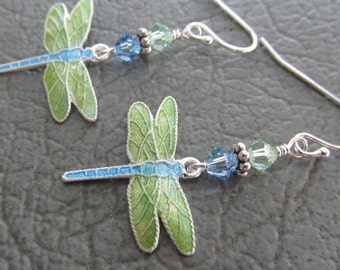 Cloisonne Dragonfly Earrings