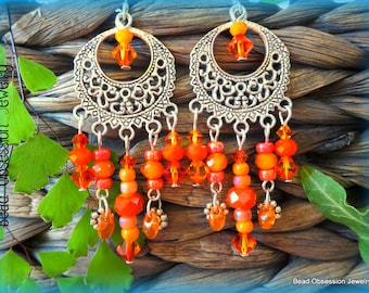 Orange Earrings; Boho Earrings; Chandelier Earrings; Bohemian Earrings; Hippie Earrings; Orange Boho Earrings; Australian Seller