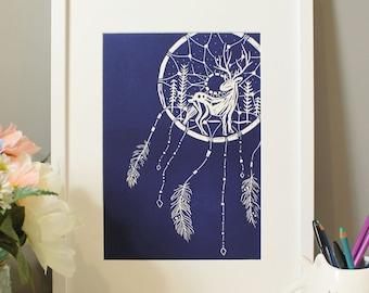 Stag Dream Catcher- Original A3 Lino Print