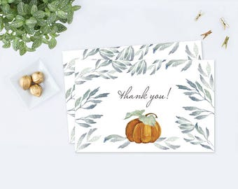 Fall Thank You Card, Autumn Greenery Thank You Card, Pumpkin, Baby Shower, Bridal Shower, Wedding, Thanksgiving, Fall Stationery, Greeting