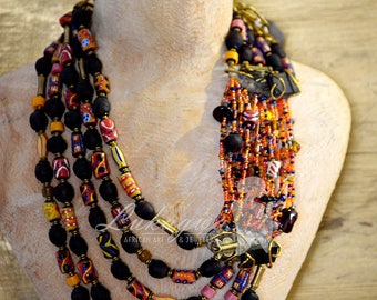 Maroon Masai beaded necklace,Maroon African jewelry,Maroon layered Afrocentric necklace