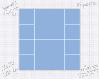 Photo collage template 20x20 inch (10 pictures) ref 20x20015