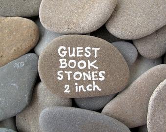 Guest Book Stones Wedding Rocks Flat Rocks Wishing Stones Memorial Stones Message Rocks Wish Stones Craft Stones LARGE 1.7 - 2 inch