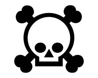 129 - Crossbones Skull Any Size or Color Custom Cut Vinyl Decal Sticker - Free Shipping