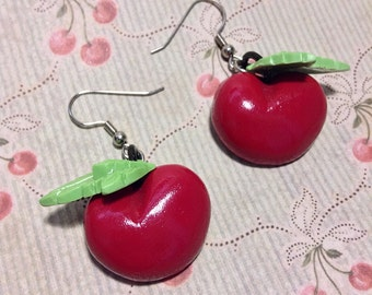 Cherry Drop Earrings - Dangle Earrings - Novelty Realistic - Rockabilly Pin Up Kitsch Retro - Vintage Inspired - Resin Handcast Handmade