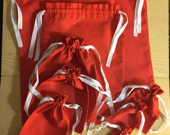 Ribbon Drawstring Red Christmas Muslin Bag. Premium Quality. Best for Gift Packaging. Decorative Bags. Grocery Bags