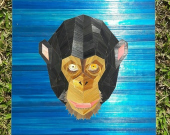 Chimpanzee geometric straw inlay