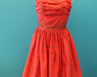 1950s Coral and Gold Dress