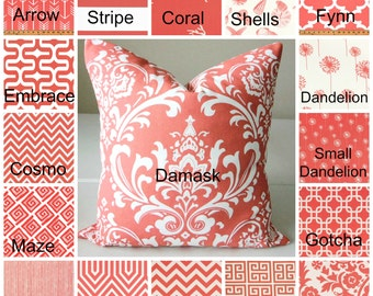 "Coral Pillow Cover Case fits 14"" 16"" 18"" 20"" 22""  24"" Euro Sham Coral Pillows Beach Decor Nautical Damask Suzani Chevron Dandelion"