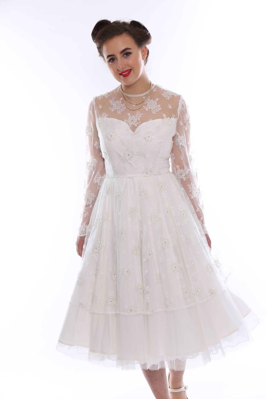 1950er Jahre inspiriert Tee Länge Brautkleid