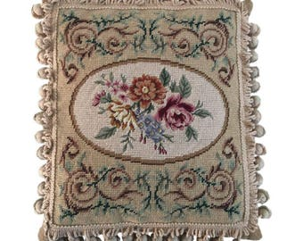 """Elegant French Aubusson Needlepoint Pillow With Floral Design 12"""" X 14"""""""